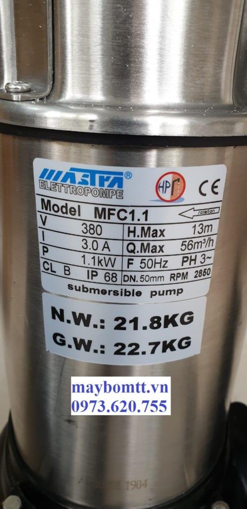Bơm nước thải mastra 1.1kw